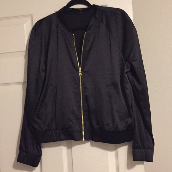 3f53942f163 Express Jackets & Blazers - Express women's black silk bomber jacket
